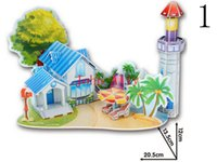 Wholesale FUN Baby Kids Educational Toy Lovely Cartoon Castles Hummer anf Naval Ship DIY D Paper Puzzle