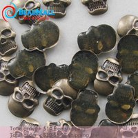 Cheap Wholesale-Min order $10 Free Shipping10*7mm Alloy 100pcs Antique Skull Nail Art Metal Studs Decoration Cell phone Dropshipping DIY290108