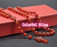 agate rosary beads - 2015 religious Catholic church natural agate cornalian beads jesus christ cross prayer rosary pendant necklace cm colors