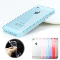 al por mayor iphone 4s cubierta contra el polvo-Transparente TPU gel transparente Ultra fino TPU suave con Anti-Dust Plug caso contraportada para el iPhone 4 4S 4G 5 5S 5G