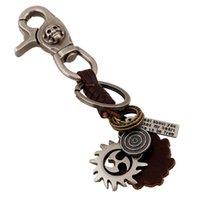 antique target - Pure Handicraft Full Grain Leather Punk Leather Skull Alloy Target Burning Sunshine Key chain for Men SKC00085