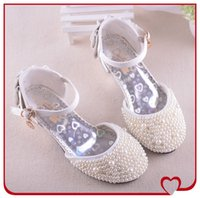 Summer baby bridesmaid - Flower Girls Fashion Beads Princess Kids High heeled Children Shoes For Baby Girls KW SH033 Bridesmaids