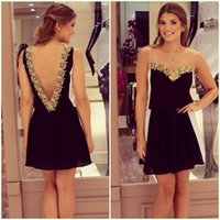 Wholesale 2014 New Fashion Deep V Backless Sleeveless Chiffon Dresses Lace Strapless Party Dress SF10