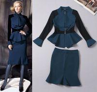 Women women business suits - Elegant Slim Business Women Color Block Top And Skirt Women s Sets A240