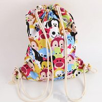Wholesale new Tsum Tsum Drawstring bags Mickey Minnie Mouse printed canvas backpack cartoon kids casual shoulder bag student school bags xvg5