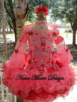 little girls beautiful dresses - 2015 Beautiful Water Melon Glitz Little Girl Pageant Dress Sheer Long Sleeves Crystal Beaded Sequined Ruffles Short Kids Infant Party Gowns