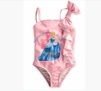 Wholesale New Summer Cinderella Girls Bathing Suit Girl cartoon printing Camisole bowknot swimming suit baby clothes