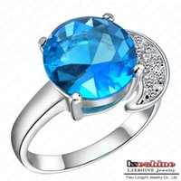 aquamarine platinum engagement ring - Aquamarine Engagement Ring Imitation Jewelry Real Platinum Plated Round Blue Zirconia Stone Ring Bijoux WX RI0076