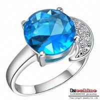 aquamarine platinum ring - Aquamarine Engagement Ring Imitation Jewelry Real Platinum Plated Round Blue Zirconia Stone Ring Bijoux WX RI0076
