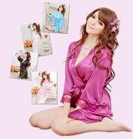 satin robe - 2015 NEW colors Sexy Lingerie Satin Sleepwear Silk Detail Robe and G String Sexy Sleepwear Nightdress