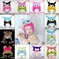 Wholesale 2013 NEW colors pick Handmade Knitted Crochet baby hat owl hat with ear flap