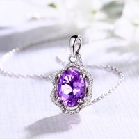 amethyst rhombus - 2016 hot selling necklace the natural amethyst pendant necklaces sterling silver necklace jewelry the rhombus purple pendant