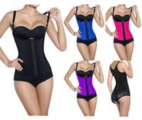latex corsets - Newest Steel Boned Waist Training Corset Shoulder Hanging Sport Latex Black Underbust Waist Cincher Shaper Size S XL