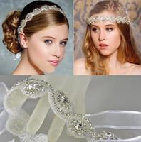 Wholesale 2015 Charming Bridal Tiaras Bohemia Hair Accessories White Crystals Headband Wedding Accessory Girls Party Headwear Bride Hair Ribbon
