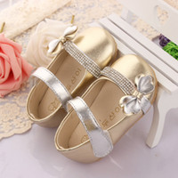 Wholesale Golden Pink Rose Red Bowknot Baby Girls Shoes Child Girl PU Leather Glitter Rhinestone Princess Slip On Magic Tape Soft Sole Flats K2457