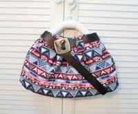 Wholesale Bohemian Dress Children Printed Skirts With Belt Autumn Winter Girls Cotton Dressy Clothes Fashion Childs Kids Clothing Black Purple M1655