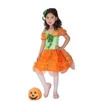 achat en gros de costume de fée jaune-Costume de robe de citrouille jaune pour fille Princesse de fée magique Robe de Cosplay Enfants The Flying Sorceress Fantasia Infantil Costuems 1630