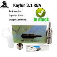Wholesale Kayfun RBA Clearomizer Kayfun RBA Atomzier Glass Stainless Steel Airflow Control Bottom Feeder full Accessories VS Baal Fat Man