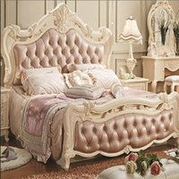 Wholesale Beds Continental meters of solid Wood Bed storage box American classical French pink leather Bed marriage Bed