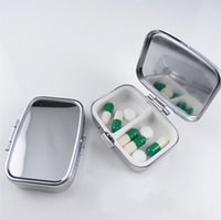 Cheap FEDEX Free Shipping FEDEX FREE SHIPPING! 200pcs LOT Rectangle Metal Pill Boxes Organizer DIY Medicine Case Holder 2 Silver