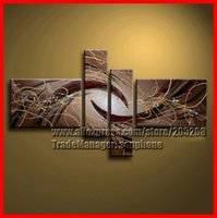 Cheap Brown Abstract Wall Art Framed 4 Panel High End Modern Oil Painting on Canvas Decorative Pictures Home Decor S0236