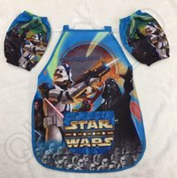Wholesale 800PCS HHA553 Star Wars armed white soldiers Jedi Darth Vader bib Cartoon waterproof aprons cuff children playing with sand painting
