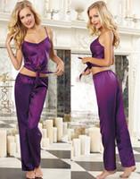 bias cut - Sexy Pajamas For Womens Silk Sleepwear Purple Satin Charmeuse Bias Cut Camisole Crop Top matching drawstring satin low rise pant