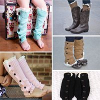 Wholesale Fashion Warm Kids Girls Trendy Knitted Button Lace Leg Warmers Trim Boot Cuffs Socks Winter Children Legging Sock seals168 JH16 S04