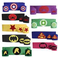 avengers wristband - Newest kids Superhero blet Wrist super hero wristband superhero Superman Batman Spiderman avengers cosplay armguard arm bands Children