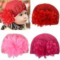 crochet hats wholesale - 10 Crochet Toddler Flower Beanie Knitted Crochet Hat Beanie Handmade Cap For Newborn Baby Toddlers Girls