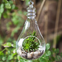 Wholesale New Design and High Quality Bulb Shaped with Size of Dia x H15cm Hanging Blown Glass Vase for Decorations