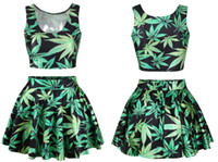 fabric pieces - Crop Top and Skirt Set Weed Leaf Printed Skirts with Piece Set Women Skirt Top Microfiber Soft Fabric