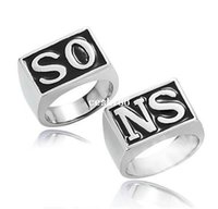 punk - new a pair Sons Of Anarchy Jax Teller exaggerated punk the Ring the O K gold plated Black for Men man finger jewelry R092