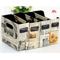 Cheap Free Shipping DIY Paper Board Newspaper Storage Box Desk Stationery Makeup Cosmetic Organizer