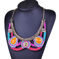 agate red mosaic - 2016 Newest Europe brand Agate Mosaic fake collar sweater chain necklaces pendants exaggerated necklace with factory price n00073