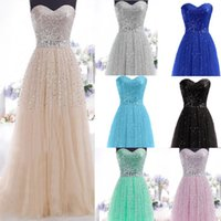 fashion lace ribbon - 2015 white black New Formal Long Evening Ball Gown sweetheart Sequins Beading Waistband backless Party Bridesmaid Dresses Stock Size LZ