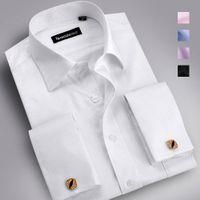 dress shirt for men - Men Classic shirt business men s long sleeve casual shirts French cufflink dress shirts for men big size XXXXXL