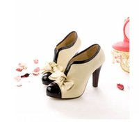 Wholesale Sexy Beige Platform Heels - Free Shipping High Heel Shoes New Sexy Lady Beige Bow Pump Platform Women Free Shipping Size 35--41