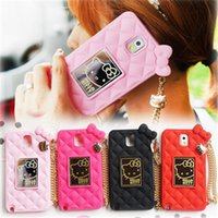apple cover chain - For iphone6 iphone S S plus Cartoon Cases With Mirror And Chain Cute Hello Kitty MM Bean Silicone Soft Case Cover