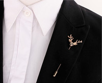 Wholesale Unisex Silver Gold Deer Suit Shirt Corsage Lapel Stick Pin Chain Brooch Jewelry
