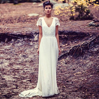 Cheap Hot New 2015 Vintage V Neck Wedding Dresses 2015 Long Boho Hippie Chiffon A-Line Lace Cap Sleeve Backless Bridal Wedding Gown Robe De Soiree