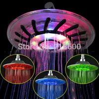 Wholesale LED Rainfall shower heads rainfall bath shower head RGB LED Light Bath Shower Head color changing