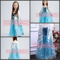 Wholesale 2014 hot girls dress Movie Cosplay Costume Princess Elsa Dress from Frozen for Children frozen dress girls Anna Dress party clothes BO6800