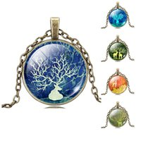 acrylic tree painting - 2015 new Tree of Life Necklace Pendant Christmas deer models Vintage Painting Silver Family Christmas Style Charm Jewellery Gift