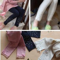 childrens leggings - Hu sunshine new autumn girls cotton solid pink white navy leggings childrens kids hot drilling legging with lace