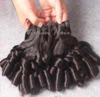 Wholesale 7A Virgin Peruvian Funmi Hair Human Hair Aunty Funmi Hair Bouncy Curl Double Drawn Natural Color Hair Weave Free Shipp