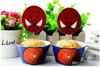 baby shower cake topper - Spiderman cupcake wrappers and toppers set pcs3 styles baby party birthday decorations shower supplies Cake Accessory new