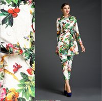 Women's spring coats - High Street Spring Runway Women s Clothing Dress Long Sleeve Floral Print Outwear Coats Trench Coat Plus Size S XL