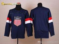 Wholesale Blank American Olympic Hockey Jersey Mens Navy Blue Hockey Apparel Lowest Price Jerseys Top Quality Hockey Wears for New Season