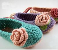 baby girl baptism shoes - Crochet baby flower ballet shoes handmade infant booties Baby Crib Shoes Princess Shoes toddler Baptism Shoes cotton pairs custom